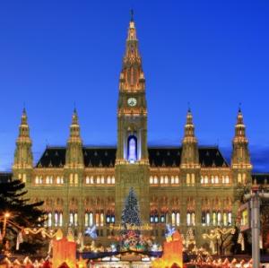 Townhall Vienna with Christmas Market, Austria